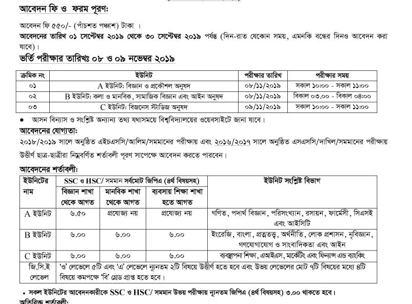 Comilla University Admission Result, Admit card 2019-20 | www cou ac bd