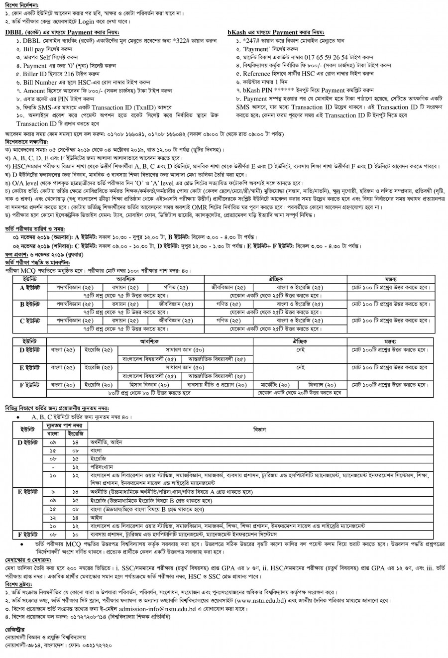 NSTU Admission Result, Admit Card 2019-20 | www nstu edu bd